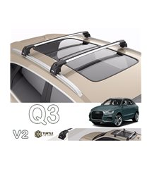Audi Q3 Turtle Roof Bars Racks Set Upper T-track with QuickAcces