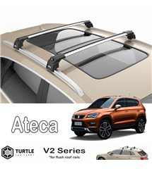SEAT Ateca SUV Turtle Roof Bars Racks Set Upper T-track with QuickAcces