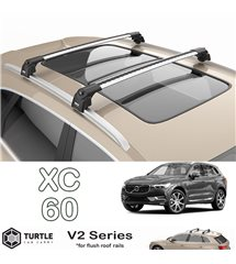 Volvo XC60 Turtle Roof Bars Racks Set Upper T-track with QuickAcces